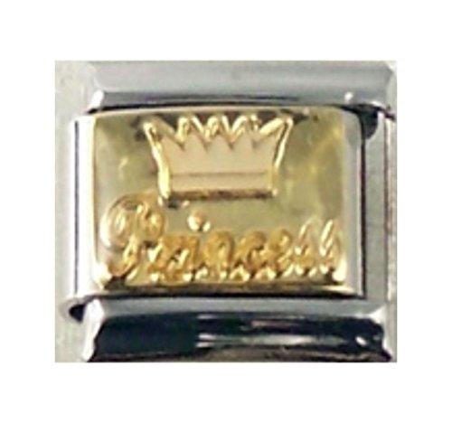 Stylysh Charms Princess Crown Gold Tone Enamel Italian 9mm Link NC110 ()