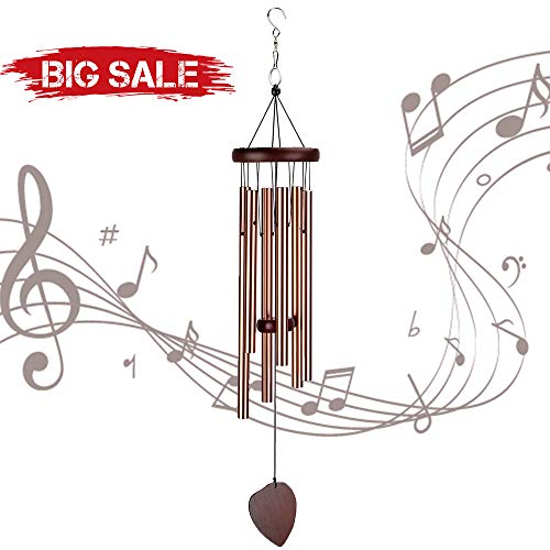 ZOUTOG Wind Chimes Outdoor, 29'' Handmade Wooden Chimes with 6 Metal Hollow Tubes & Hanging Hook, Outdoor Decor for Home/Yard/Patio/Garden