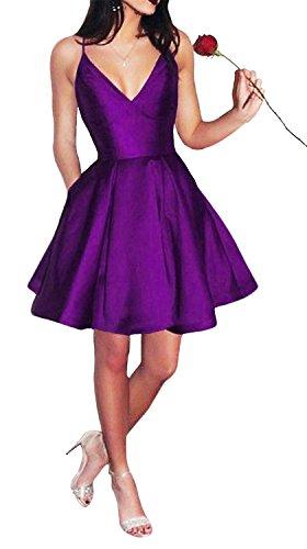 Yangprom Short Spaghetti Straps V-Neck A-line Homecoming Dress with Pockets (2, Purple) ()