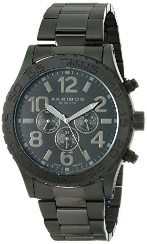 Akribos XXIV Men's AK763BK Multifunction Swiss Quartz Movement Watch with Black Matte Dial Stainless Steel Bracelet