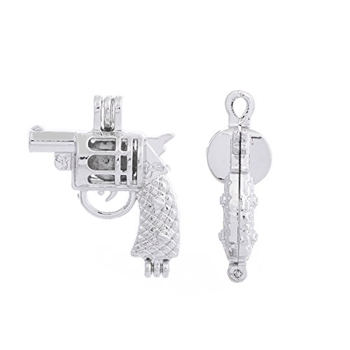 - 10pcs Silver Plated Bead Cage Charm Locket Pendant - Add Your Own Pearls, Stones, Rock to Cage,Add Perfume and Aromatherapy Essential Oil Diffuser Pendant Charms.(Gun Shape)