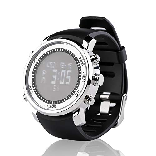 (EZON Hiking Watch with Compass Altimeter Barometer Thermometer for Men Outdoor Climbing Waterproof Digital Sports Watch H506B01(Black))