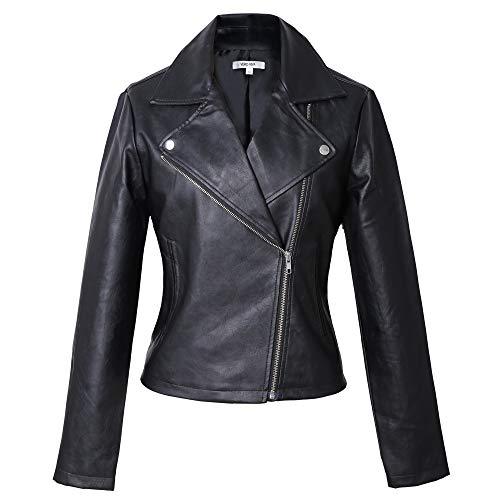 (VERO VIVA Women's Faux Leather Long Sleeve Moto Jacket Slim Fit Short Biker Coat(L,Black))