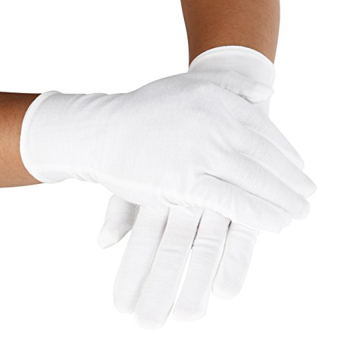FOXNOVO 8 Pairs White Cotton Gloves Soft Lightweight Work Gloves Free Size
