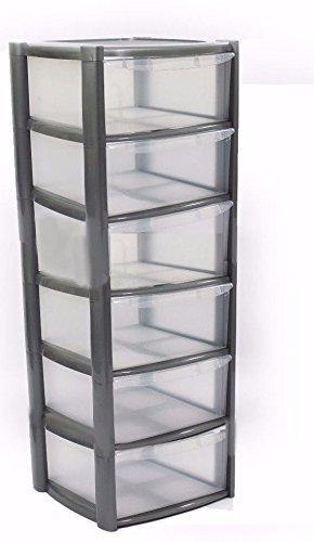6 Drawer Plastic Storage Unit Silver Viss