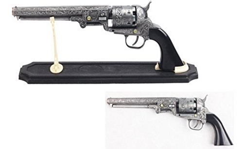 (Decorative Western Revolver with Display Stand, 13-Inch Overall)