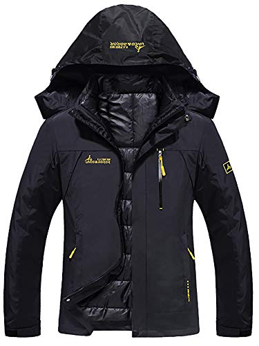 GEMYSE Women's Double Layer Jacket Waterproof Puff Liner Winter Cotton Coat(Black,S)