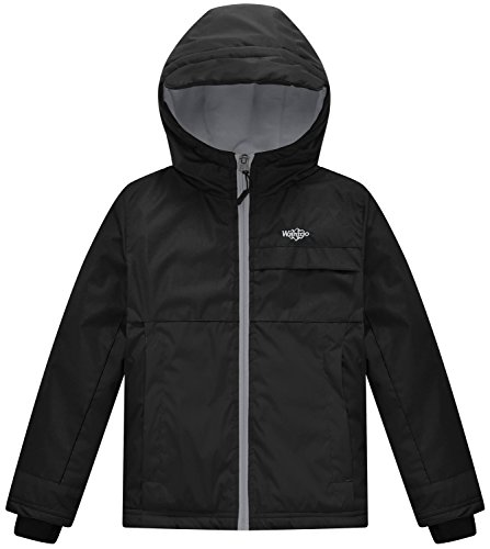 Wantdo Boy's Waterproof Fleece Lining Ski Jacket Hooded Wind Breaker Outerwear(Black, 8) (Kids Boys Ski Jacket)