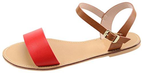 Cambridge Väljer Kvinnor Colorblock Enda Band Ankel Strappy Platt Sandal Röd / Kamel