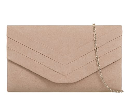 Clutch Suede KL809 Women's Handbag Pleated Evening Ladies Bag Nude Faux Purse Bag Envelope TR5q5xtw