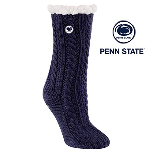 (TCK Brands Miss Chalet Penn State University Nittany Lions Sherpa Lined Cable Knit Cozy Slipper Sock)