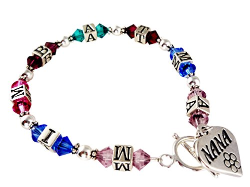 Initial Family Birthstone Bracelet with Nana Charm