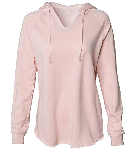 - Koloa Surf Women's Lightweight California Wavewash Hooded Pullover Sweatshirt-2XL-Blush