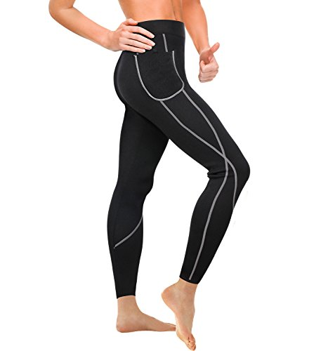 Wonderience Women Sauna Weight Loss Slimming Neoprene Pants Hot Thermo Fat Burning Sweat Leggings (Black, L) -