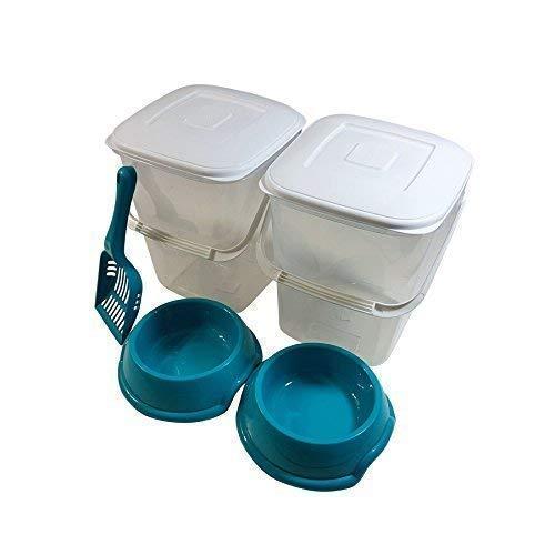 5PCE Juego Mascota 10L. conservación alimentos plástico ...