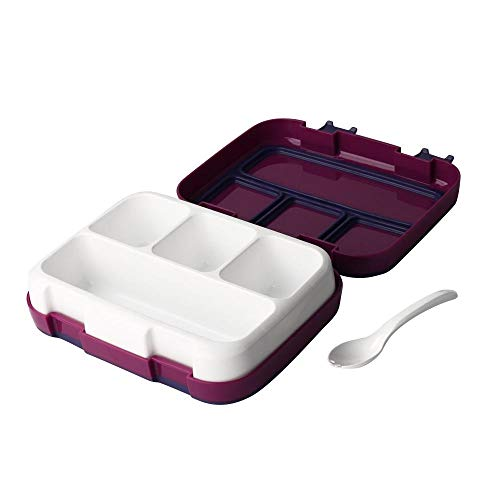 Volwco Bento Lunch Box, Leakproof Compartments Lunch Box for Kids and Adult with Spoon, Meal and Fruit Packing Food Storage Container for School, Travel and Picnics - 3 Compartments (Food Storage Containers Bap Free)