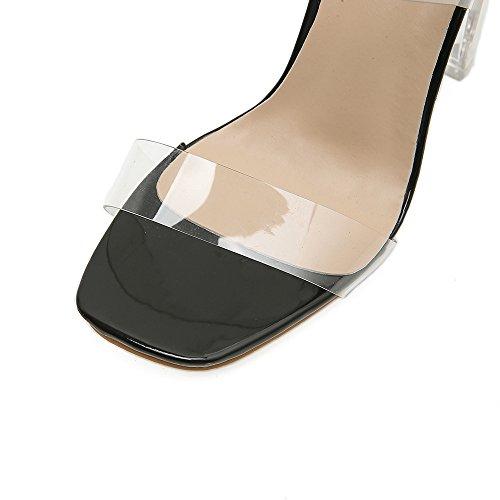 gruesas black primavera altos alto tacón de Los tacones de ZHZNVX Crystal con zapatos sandalias Clear nueva boca nuevos con pescado qwOznHF