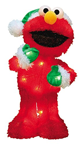 productworks 18 inch pre lit sesame street elmo in green santa hat christmas yard decoration 35 lights 693 reg 3999