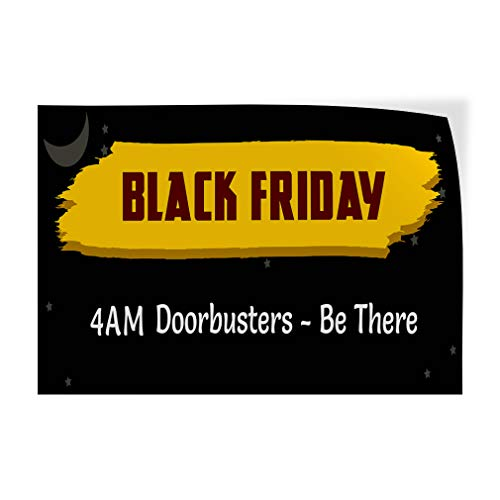 Black Friday Time Black Yellow Custom Door Decals Vinyl Stickers Business Sale Black 28X20Inches