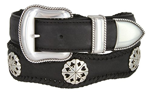 New Men's Card Suits Poker Hand Concho Leather Cowboy Belt(Black, 38