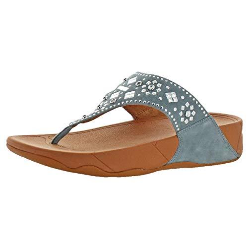 (FitFlop Women's LULU Aztek Stud Toe-Thong Sandals-Suede, Dove Blue, 10 M)