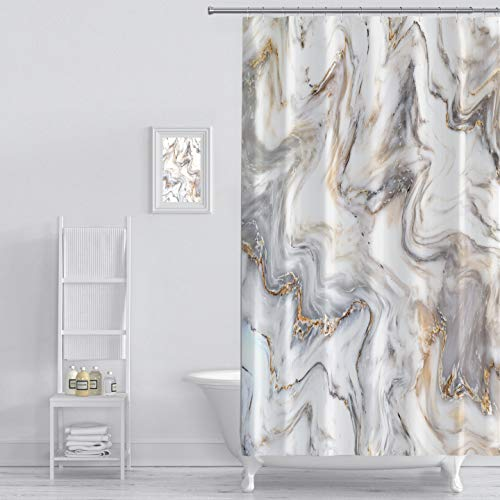 MuaToo Shower Curtain marble ink texture background pattern can used for wallpaper or skin wall tile luxurious Graphic Print Polyester Fabric Bathroom Decor Sets with Hooks 72 x 72 Inches (Tiles Ink)