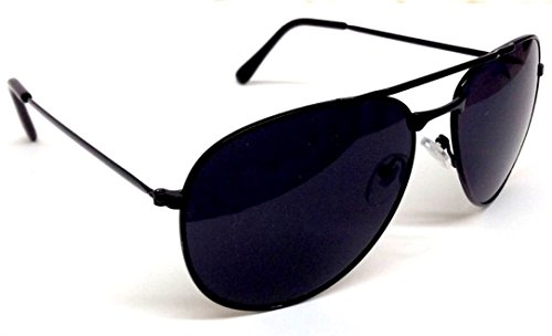 Black Pilot Aviator Sunglasses Dark - Black Flys Sunglass