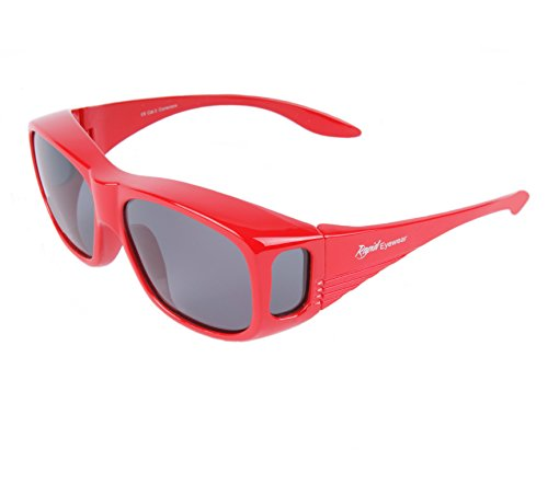 Rapid Eyewear RED POLARIZED OVER GLASSES Sunglasses That Fit Over Your Prescription Spectacles For Men & Women. UV400 OTG for Driving, Cycling, Running - Light Blue Glasses Uk Prescription Blocking