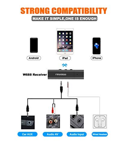 Bluetooth 4.1 Wireless Audio Receiver, Built-in Mic Hands-free Call, For Headphones, Speaker, TV Home Sound System, Mobile Audio Devices
