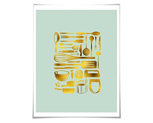 Kitchen Utensils Gold Foil Art Print. 36 Colours/3 Sizes. Cutlery. Cooking Kitchen Poster Chef Cook Gift (Silver Sifter)