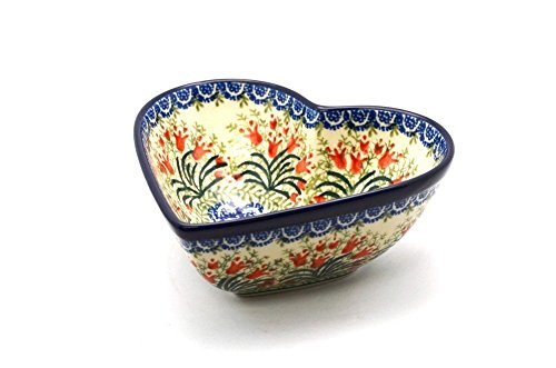 Polish Pottery Bowl - Deep Heart - Crimson Bells