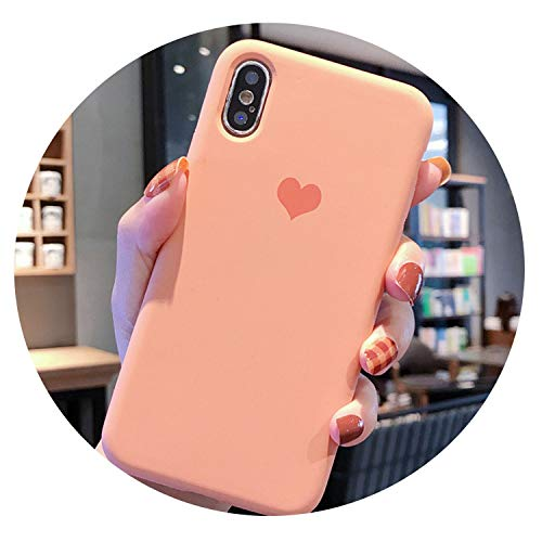 Simple Solid Color Case for iPhone Xs Max XR XS X 8 7 6 6S Plus Cartoon Love Heart Phone Cases Soft TPU Back Cover Coque,Orange,for iPhone 8 Plus ()