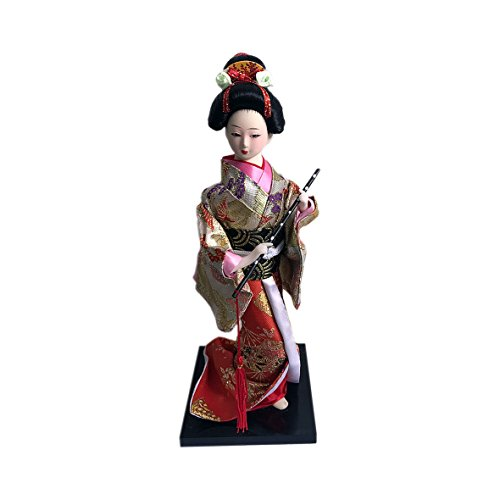 """JG.Betty 9"""" 23cm Japanese Folk Kimono Geisha Doll Maiko Doll Puppet Stand on Base for Decorative Home and Hotel Gifts Doll (9 Inch, Red Gold Doll JD0004)"""