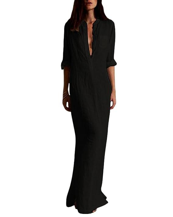edb43e83a9 Romacci Women Retro Long Maxi Dress Elegant Sexy Ladies Long Sleeve Stand  Collar Long Line Split Solid Shirt Dress