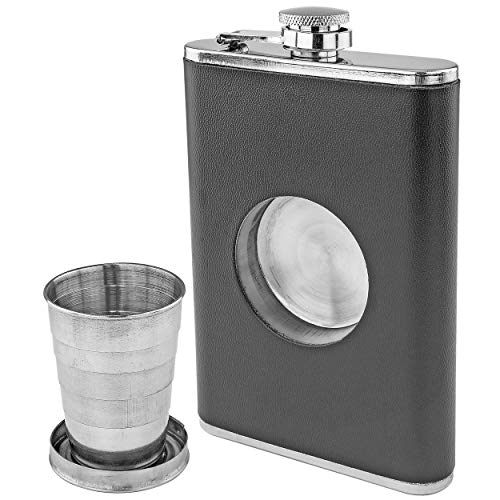 Fairly Odd Novelties FON-10229-8 oz Hip Flask with Built in Collapsible Shot Glass, Black