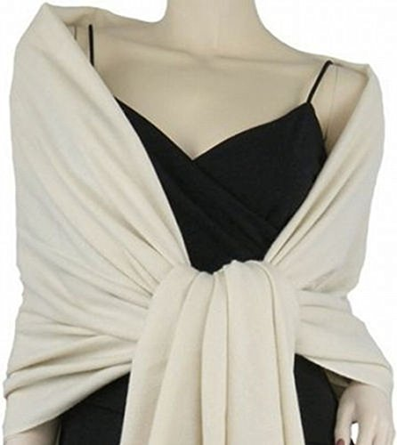 Silk And Cashmere - 2PLY LONG 78X28 Solid Silk Pashmina Shawl Wrap Stole Cashmere Wool Silk Scarf (Off White)