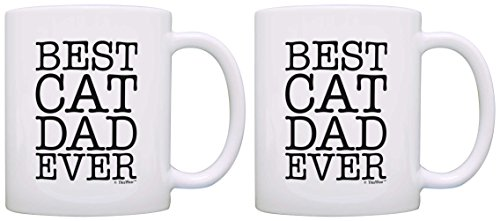 Best Cat Dad Ever Animal Lover Rescue 2 Pack Gift Coffee Mugs Tea Cups White