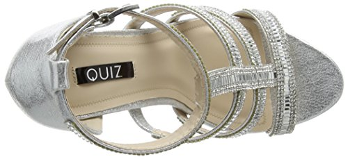 Quiz Damen Diamante Strap Cage High Sandals Pumps Silberfarben