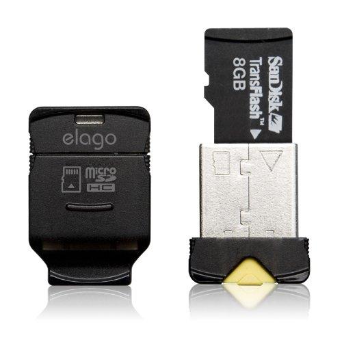 elago Mobile Nano II USB 2.0 microSDHC Flash Memory Card Reader -Works up to 32GB- (Microsdhc Usb)
