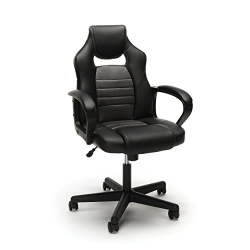 Essentials Gaming Chair - Racing Style Ergonomic Mesh and Leather Computer Chair, Gray (ESS-3083-GRY)
