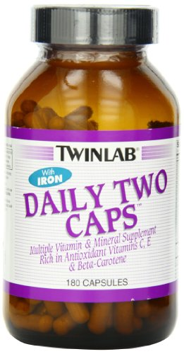 [Twinlab Daily Two Caps, with Iron, 180 Capsules] (Two No Iron 180 Caps)