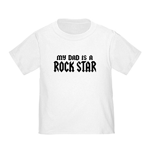 (CafePress My Dad is a Rock Star Toddler T-Shirt Cute Toddler T-Shirt, 100% Cotton White)