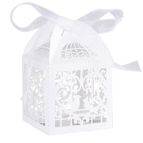 Gospire 50pcs Deluxe Party Wedding Favor Super Gift Laser Cut Pearl Paper Ribbon Candy Boxes Gift Box Bombonera Classical Bird Style (Deluxe Favor)
