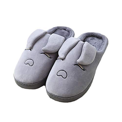Slippers JadeRich House Warm Cartoon Pig Winter Cute Grey Fleece wwWA7P1q