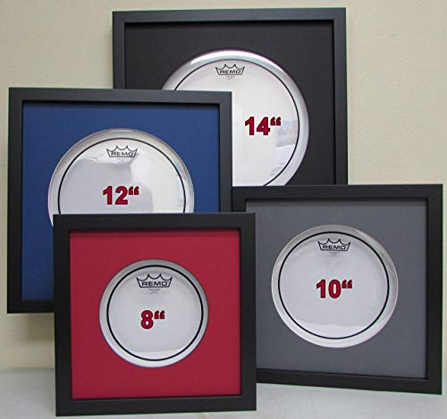 "10"" Drum Head Display Frame Set Black frame Black matting Easy Mount (Black Matting)"