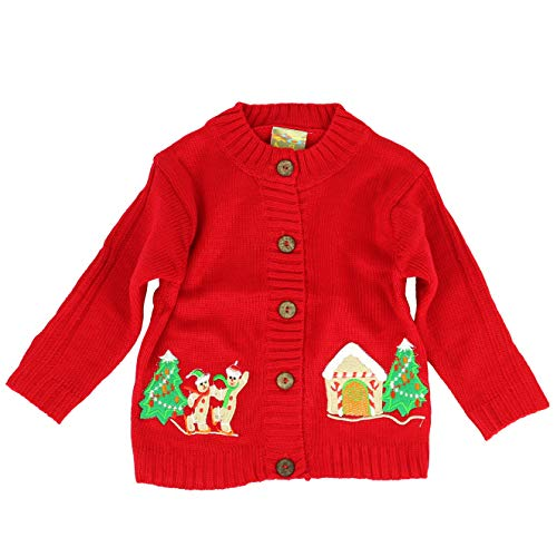 MARIA ELENA - Ugly Sweater Collection Gingerbread Pals Wool Knitted Cardigan (Red, 3T)