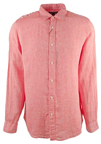 Michael Kors Men's Classic Fit Cross Dye Linen Long Sleeve Shirt-SR-XXL