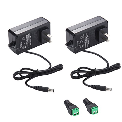 12V 2A Power Supply AC Adapter, AC 100-240V to DC 12 Volt Transformers, 2.1mm X 5.5mm Wall Plug (12 Volt - 2amp - 2pack) (12v 24v Power Supply)