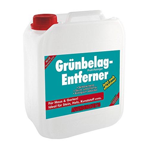 5 Liter Algenentferner, Grünbelagentferner, Haus & Garten - anwendungsfertig im Kanister für Stein, Holz, Kunststoff