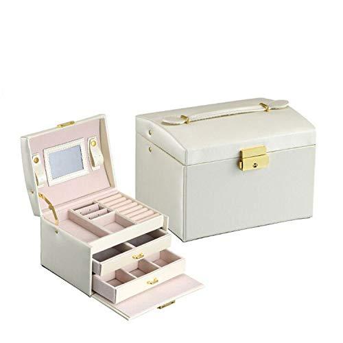POSTA Jewelry Box, Jewelry Organizer, Girls Two Drawers Jewelry Storage Mirrored Mini Travel Case, Leather